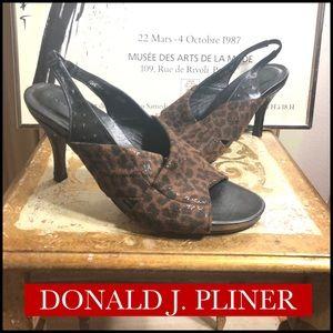 8.5-DONALD J. PLINER BROWN ANIMAL PRINT HEELS